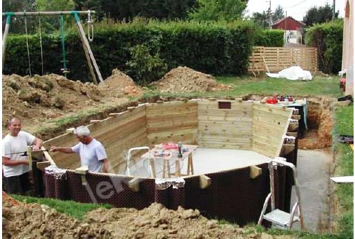 Piscine bois sasha ubbink allong e en kit 355x490xh130 cm for Piscine en bois a enterrer