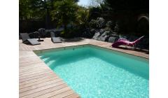 Piscine Bois  Rectangulaire LENNY Avec Escalier angle 720x400x145 cm