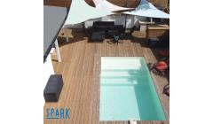 Piscine Bois Luxe Rectangulaire avec plage immergée + escalier 520x320x131cm
