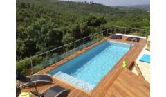 Piscine Bois Luxe Rectangulaire avec plage immergée+escalier 620x420x130cm