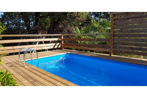 Piscine Bois Sunwater 555 X 300 X 140 Cm Liner Beige Au Meilleur