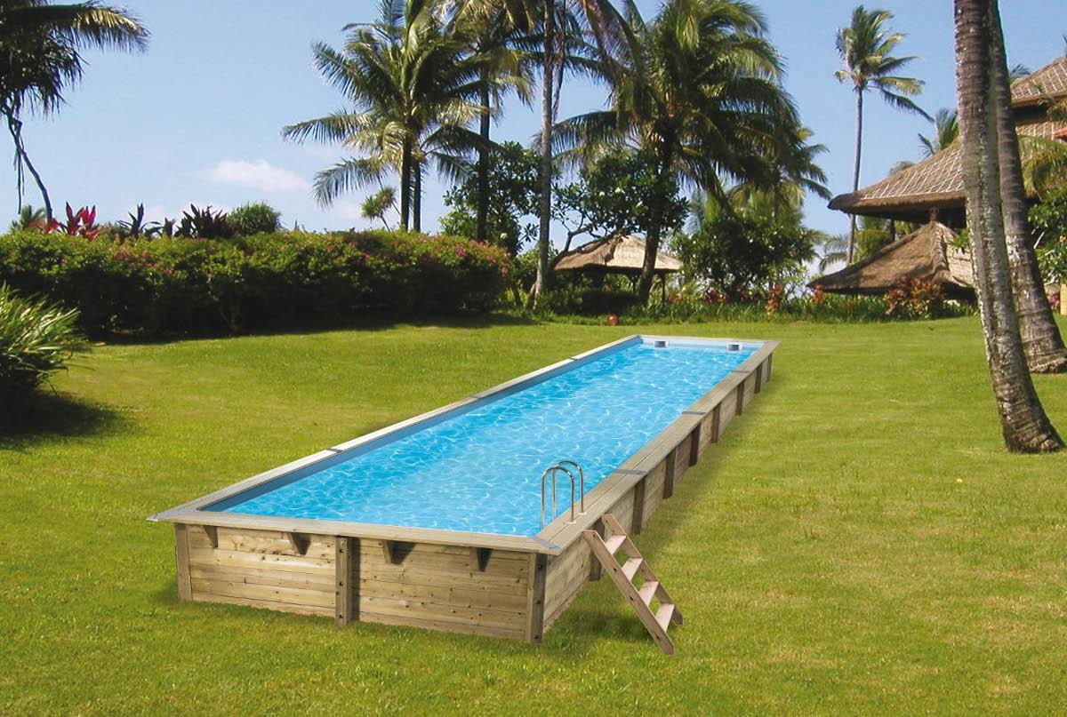 couloir de nage bois piscine bois nortland ubbink linéa 1550cm x