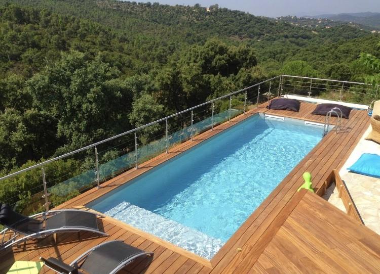 Piscine Bois Luxe Rectangulaire Avec Plage Immergée Escalier 620x420x130cm