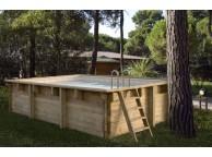 Kit Piscine Bois Hors Sol Rectangulaire Luxe 420 x 320 x 131 cm