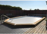 Volet roulant déplaçable pour piscine octogonale allongée 800x457cm