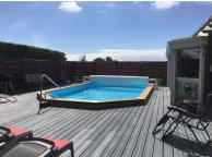 Piscine Bois Luxe avec escalier + plage immergée LUCCI 4.15 x 2.65 x 131cm