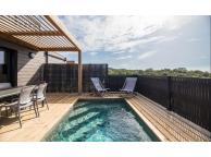 Kit Piscine Bois Rectangulaire avec escalier d'angle Luxe 420x320x145 cm