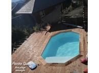 Piscine allongée en bois LOLA  avec Plage Immergée + Escalier 540X336X130 cm
