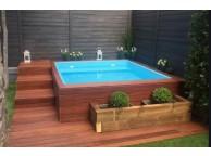 Piscine Bois carrée avec ECHELLE SPARK CAPRI  420X420x145 cm