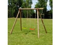 Portique en bois TONKA : 2 balançoires et 1 échelle L242xl166xH195