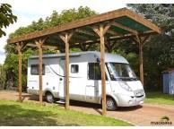 Carport couvert Camping Car en Bois 404x802cm couverture Polycarbonate