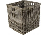 Grand Cache Pot Carrée En Rotin Gris - LEKINGSTORE