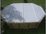 Bâche à barres pour piscine octogonal allongée 660x440 cm