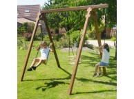 Portique en bois ULYSSE : 1 balançoire, 1 siège bébé et 1 disque L240xl207xH224cm
