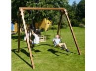 Portique en bois PIERRE : 1 balançoire, 1 siège bébé et 1 vis-à-vis L240xl207xH224cm