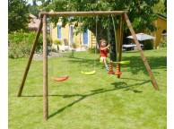 Portique en bois PACCO: 2 balançoires et 1 vis-à-vis L295xl166xH195