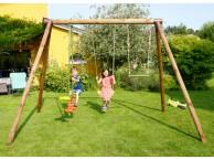 Portique en bois GABIN: 2 balançoires, 1 échelle et 1 vis-à-vis L318xl189xH222cm
