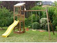Aire de jeux en bois FEROE : 1 tour, 2 balançoires et 1 vis-à-vis L377xl302xH310cm