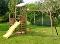 Aire de jeux en bois MOALA : 2 tours, 2 balançoires et 1 vis-à-vis L448xl302xH310cm