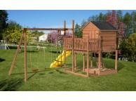 Aire de jeux en bois TENERIFE : 1 toboggan, 1 maisonnette, 2 balançoires et 1 vis-à-vis L553xl383xH271cm
