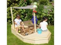 Bac à sable bateau en bois brut pour enfant - Soulet