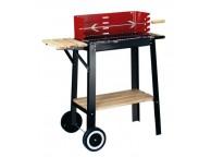 Barbecue Bois RED LINE CHARIOT avec Tourne Broche - LEKINGSTORE