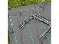 20 agrafes métalliques pour fixation au sol D4 mm H20 x 25 cm