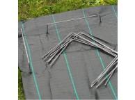 100 agrafes métalliques pour fixation au sol D4 mm H20 x 25 cm