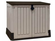 Coffre de jardin - Multifonctions - 1200L - BEIGE - Toit plat