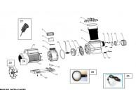 Raccord Sortie diamètre 50mm blanc + joint +écrou pour Pompe Poolmax