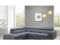 Canapé d'angle design tissu gris avec Tétières STREET GRIS CITY Angle GAUCHE 272,5 x 225,5 x 76,50/83,50 cm