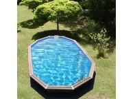 Piscine en bois octogonale allongée CALAYAN 890 x 420 x 129 cm