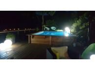 Kit Piscine Bois Hors Sol Rectangulaire Luxe avec Plage immérgée + escalier droit 620x420x145cm