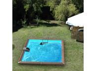 Piscine en bois carrée EGINE - 370 x 370 x 147 cm