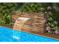 Cascade transparente pour piscine bois NIAGARA - ACRYL Led 60