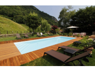 Kit Piscine Bois Rectangulaire Luxe SUPREME  avec Escalier d'Angle 12.20x5.20x145 cm