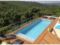 Kit Piscine Bois Hors Sol Rectangulaire Luxe avec plage immergée + escalier 620x420x130 cm