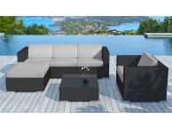 Salon de jardin resine tressée Noir/Gris Copacabana