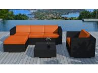 Salon de jardin resine tressée Noir/Orange Copacabana