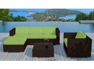 Salon de jardin en résine tressée Chocolat/Vert Copacabana