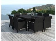 Ensemble table et chaises de jardin avec plateau de verre Noire Carré