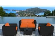 Salon de jardin en résine tressée Noir/Orange Pausa