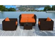 Salon de jardin en résine tressée Chocolat/Orange Pausa