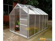 Serre de jardin avec structure alu et polycarbonate 5,92 m2 avec base et 1 fenêtre de toit - LEKINGSTORE