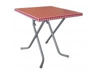 Table Pliante 2 Personnes 70 x 70 x 71 cm Décor Vichy Rouge