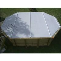 Bâche à barres pour piscine octogonale allongée 415x265cm