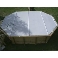 Bâche à barres pour piscine octogonale allongée 610x400 cm