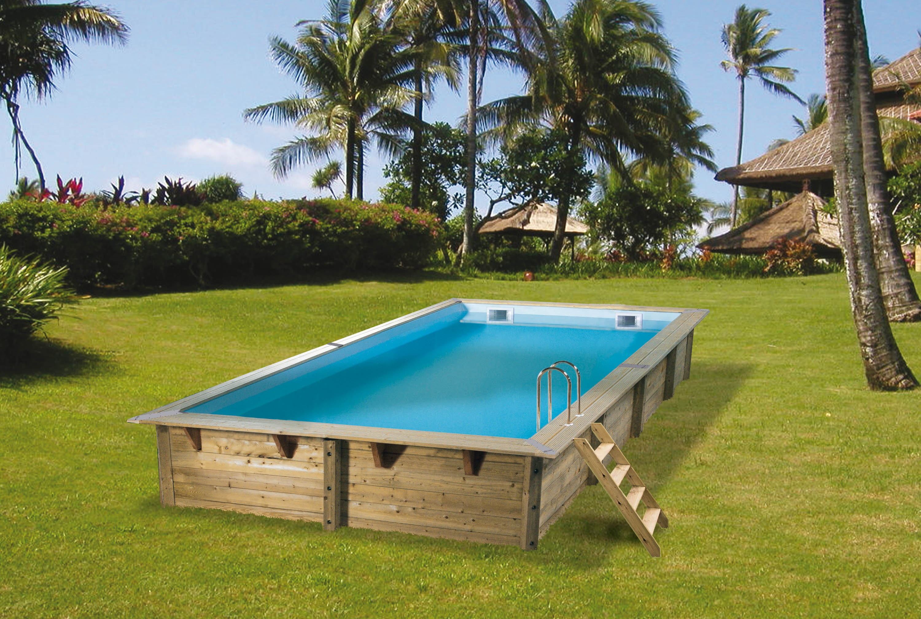 Piscine bois ubbink linea rectangulaire en kit for Montage piscine bois