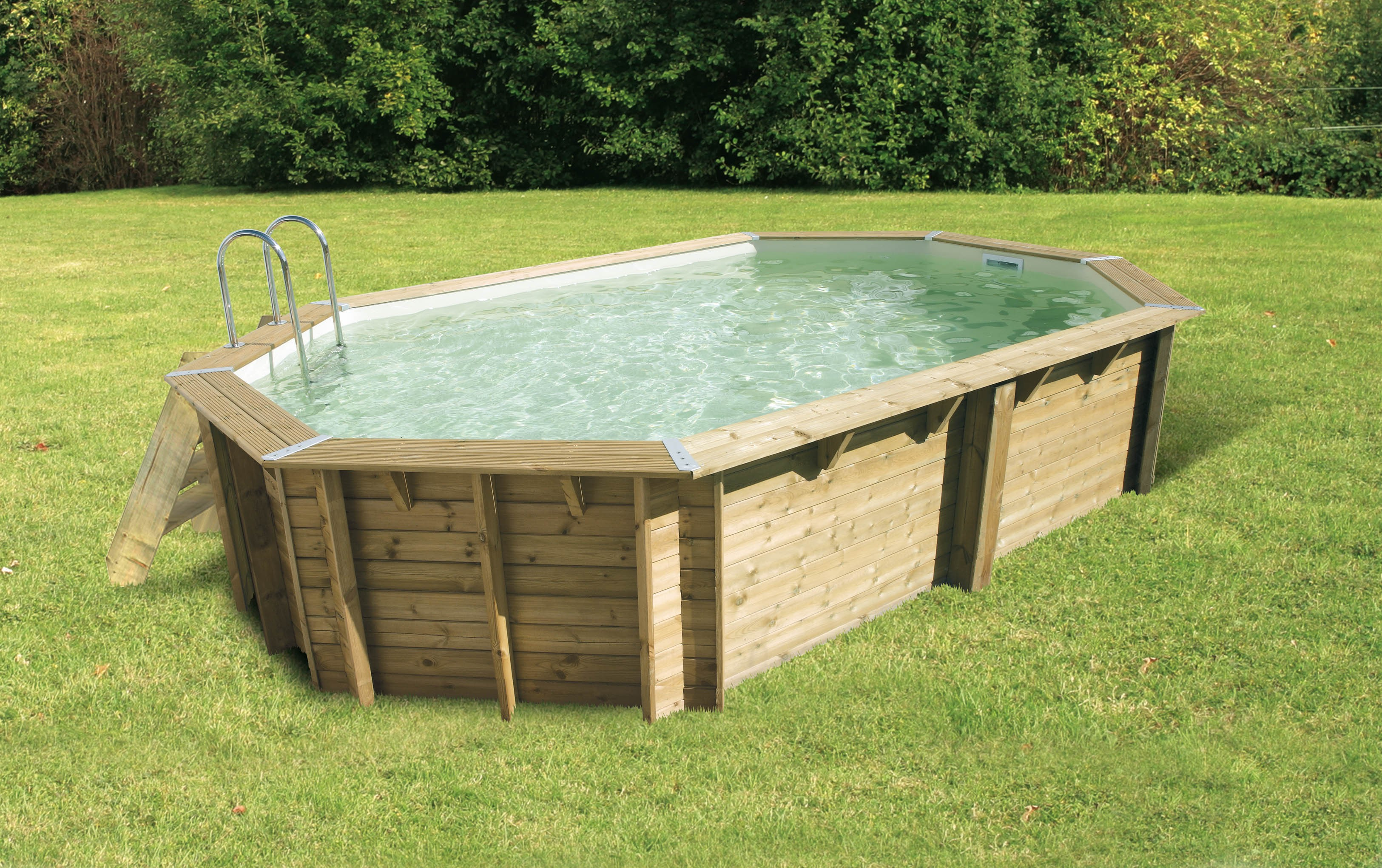 Piscine bois nortland ubbink ocea allong e en kit for Piscine hexagonale bois