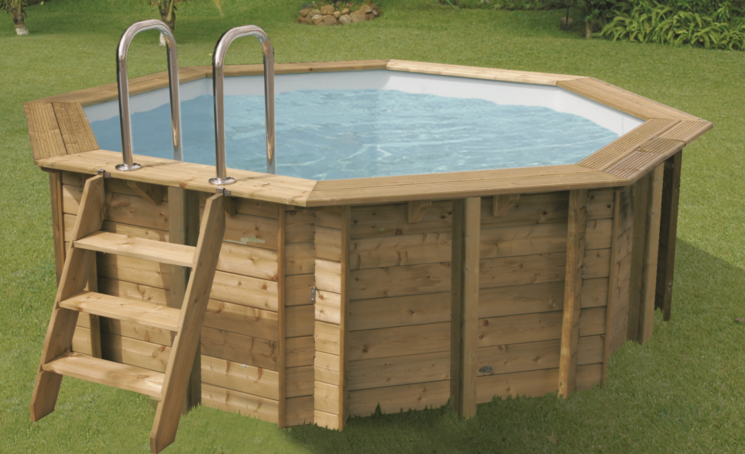Piscine bois sunwater ronde en kit 360x120 lekingstore for Piscine bois en kit